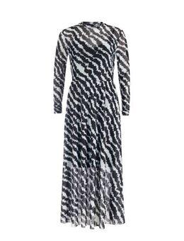 Maxi jurk met all over print en plooien zwart/wit