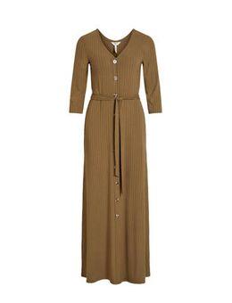 Ribgebreide maxi jurk met ceintuur olijfgroen