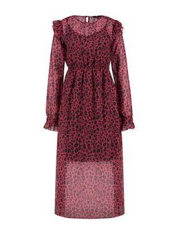 Semi-transparante jurk met panterprint en ruches paars