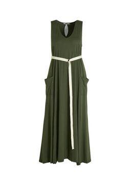 Maxi jurk met studs kaki