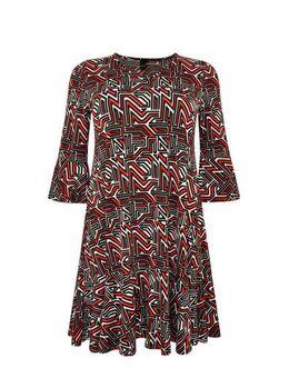 Jersey jurk met grafische print en volant rood/zwart/wit