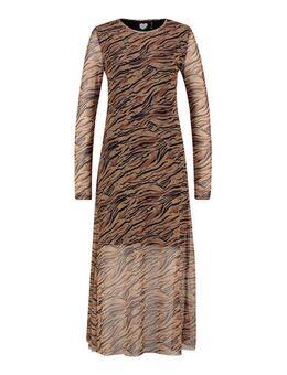 Semi-transparante jurk met dierenprint bruin/zwart