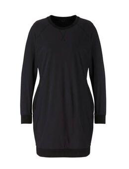 Gebloemde jersey jurk van travelstof met zijstreep zwart