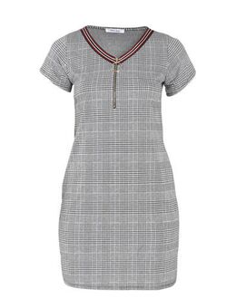 Geruite jurk met contrastbies grijs