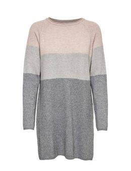 Gestreepte jersey jurk grijs multi