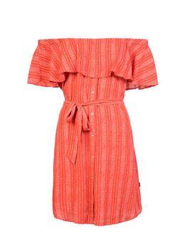 Gestreepte off shoulder jurk rood