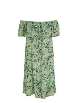 Off shoulder jurk IHMARRAKECH AOP DR6 met all over print groen
