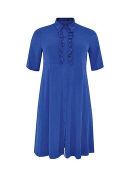 Jersey jurk met ruches blauw